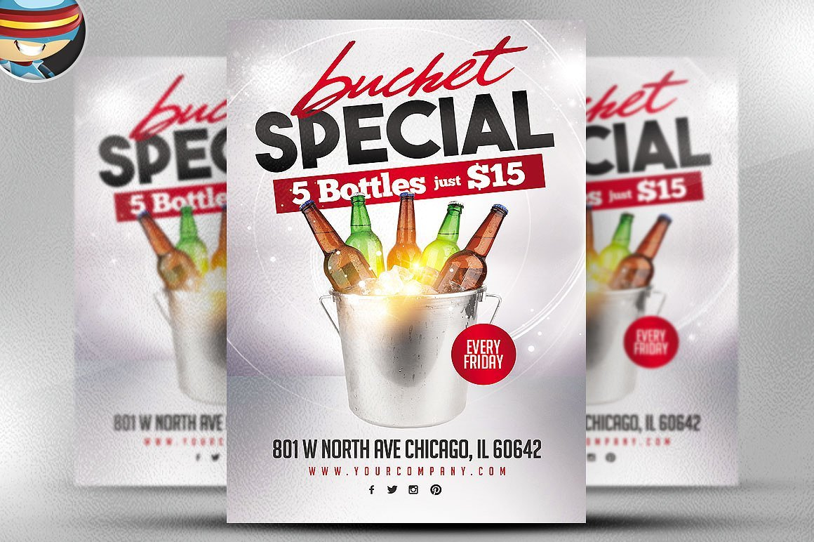 Bucket Promo Flyer Template Flyer Templates Creative Market