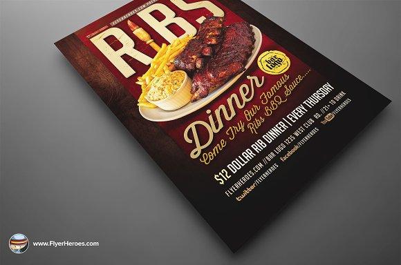 Ribs Dinner Flyer Template ~ Flyer Templates ~ Creative Market