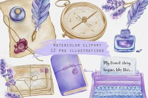 Lavender themed journal illustration