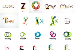 Words and loops vector logos