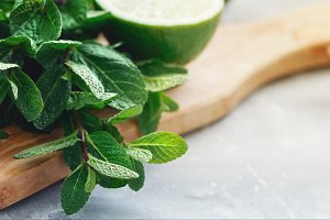 Close-up of fresh mint and lime