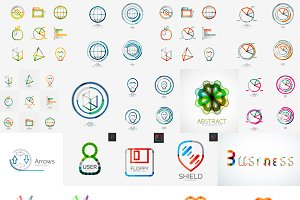 Geometric business icons set