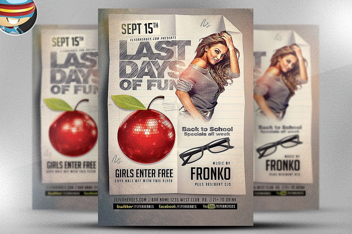 Last Back To School Flyer Template Flyer Templates Creative Market