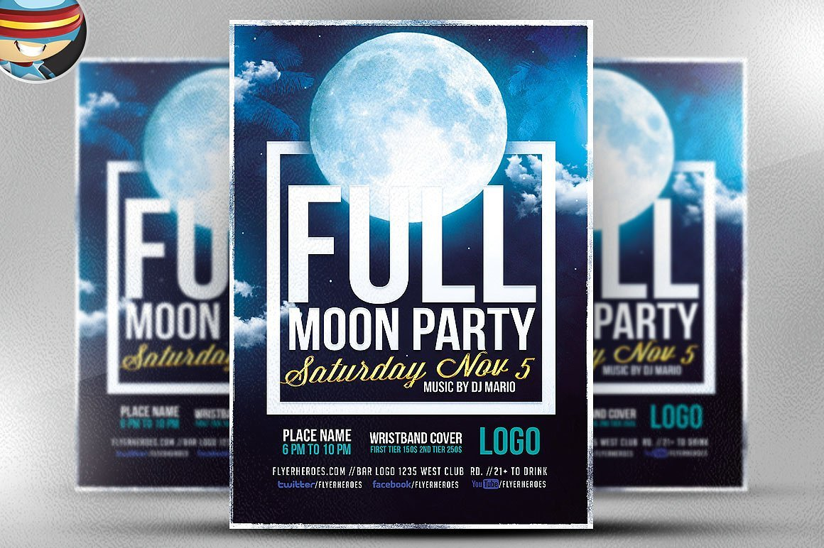 full moon party flyer template flyer templates creative market