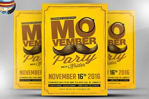 Retro Movember Party Flyer Template