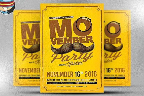 Retro Movember Party Flyer Template