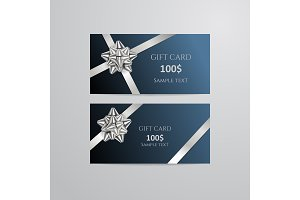 Gift Cards With silver Bow And Ribbon.
