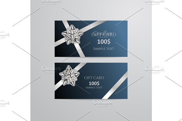 Gift Cards With Silver Bow And Ribbon