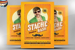 Mustache Bash Flyer Template