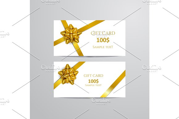 Gift Cards With Gold Bow And Ribbon