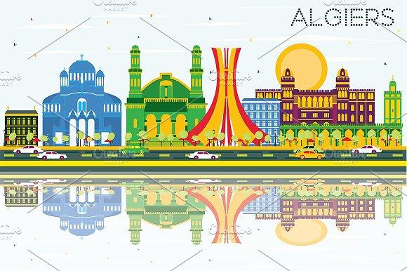 Algiers Skyline With Color Buildings