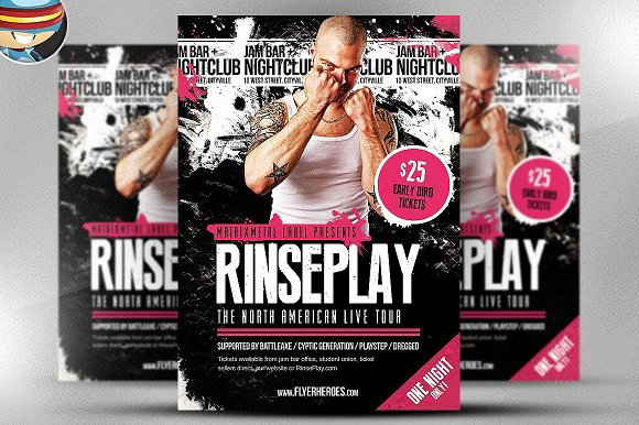 Rinseplay Rock Band Flyer Template Flyer Templates Creative Market