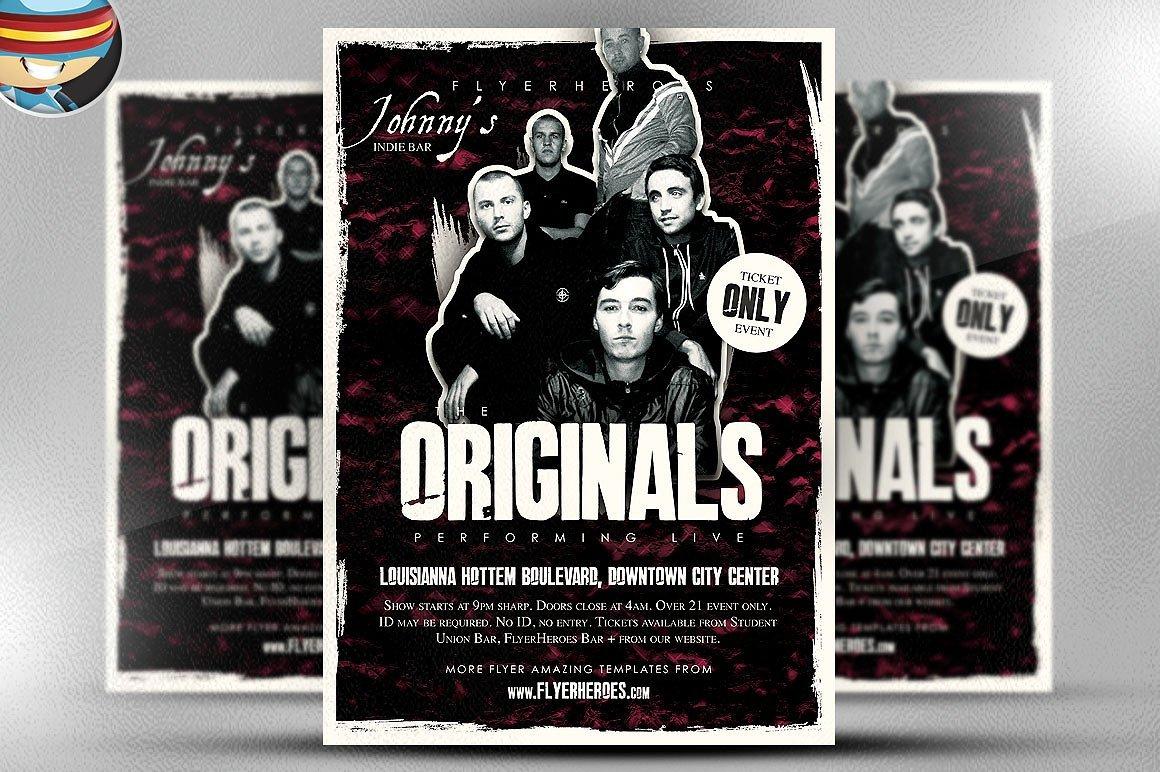 Originals indie band flyer template flyer templates creative market saigontimesfo