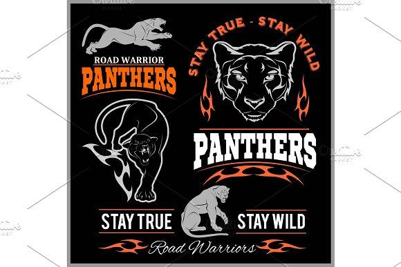 Panther Sport T-shirt Graphics Vintage Apparel Typography Artwork Stamp Print Design Wild Big Cat Head