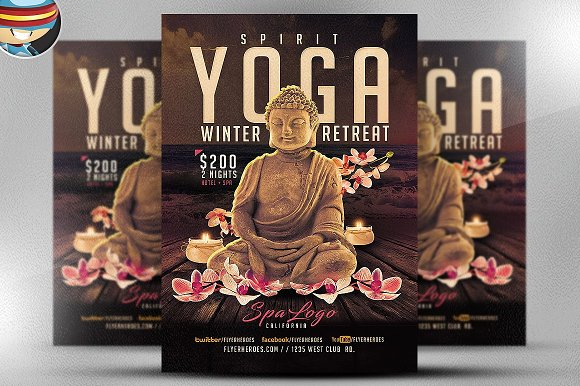 yoga winter retreat flyer template flyer templates creative daddy
