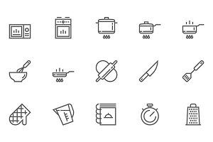 Cooking and Kitchen Line Icons
