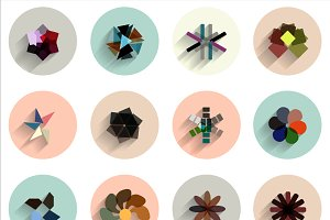 Geometric abstract flat icons