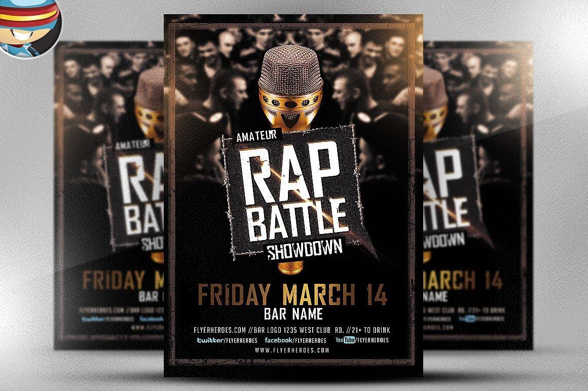 rap battle showdown flyer template flyer templates creative market