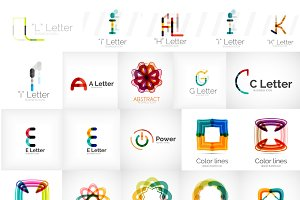 Thin line letter logos
