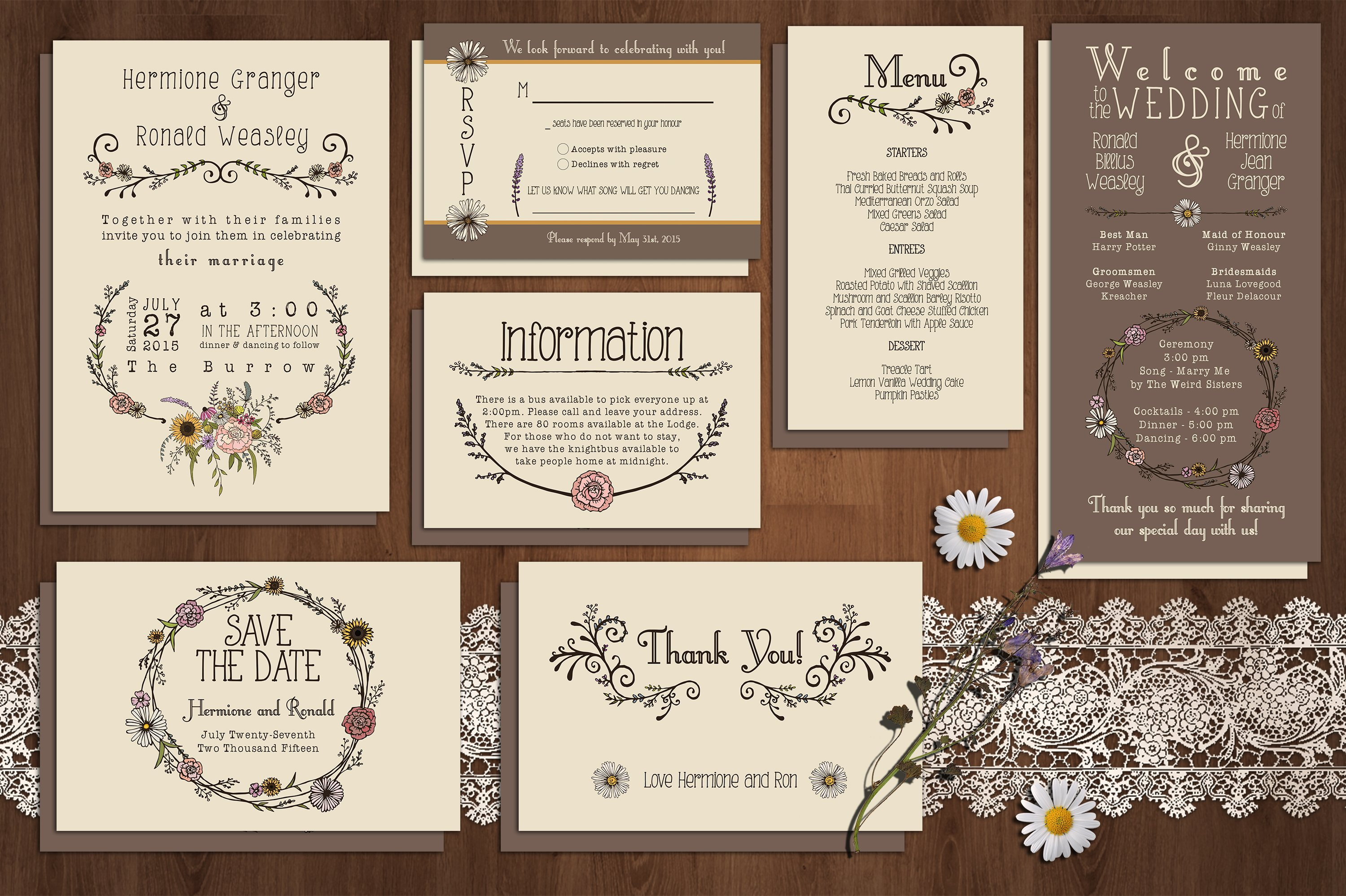 Wedding Invitation Suite Templates: Wildflower Wedding Invitation Suite