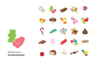 Confectionery color vector icons