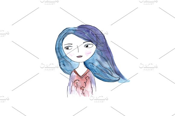 Watercolor girl with blue hair
