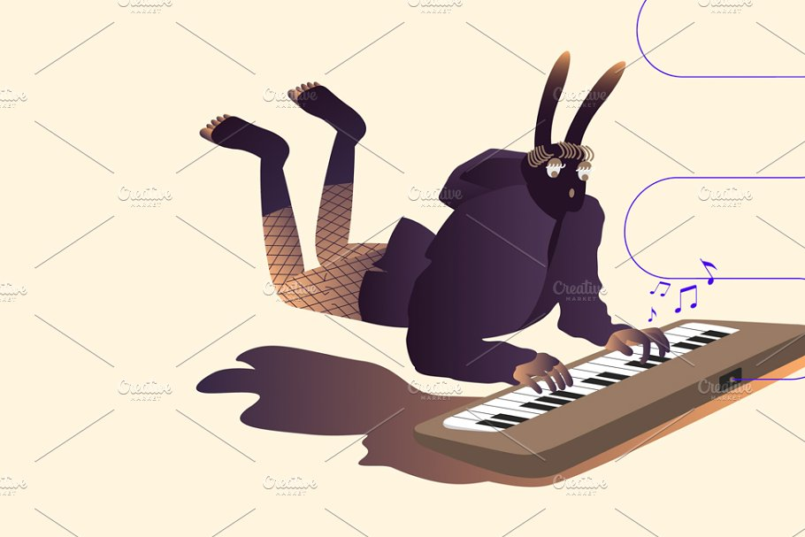 Illustration of surreal musicians in Illustrations - product preview 8