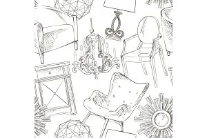 Background seamless pattern of furniture