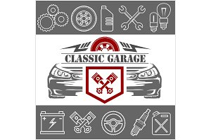 Auto repair Icons and service logo