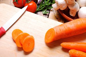 Carrots on a cutting board