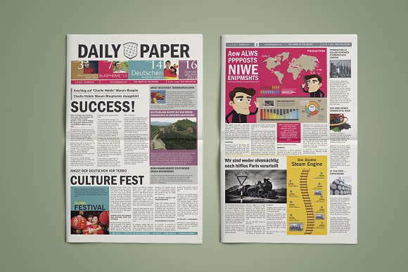 Newspaper Template Magazine Templates Creative Market
