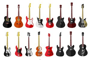 24 flat vector vintage guitars