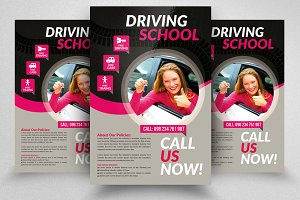 Driving School Psd Flyer Templates