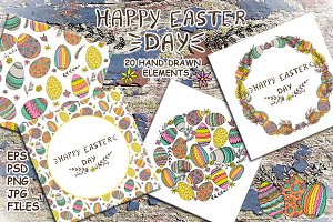 Hand drawn Easter clip art.