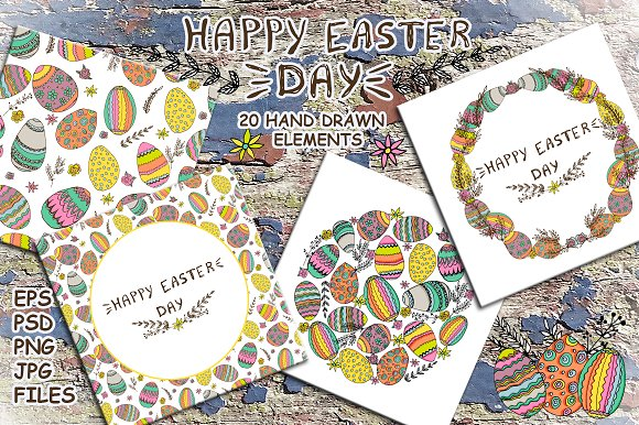 Hand Drawn Easter Clip Art