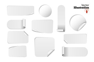 Set Of 11 Blank white paper stickers
