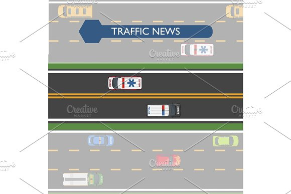 Traffic News Icon With Road Lines And Transport