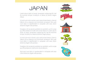 Japan Touristic Vector Concept with Sample Text