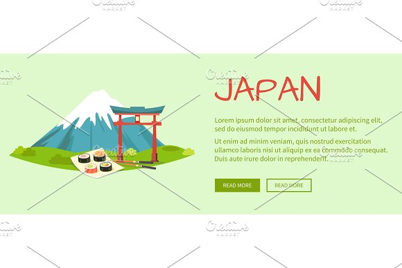 Japan Vector Illustration With Text And Signs