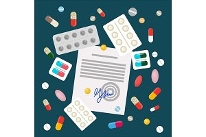 Pills Vector Illustration In Flat Style Design
