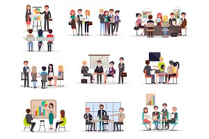 Set of Business Meeting in Cartoon Style Flat