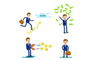 Successful Businessman Character. Illustration Set