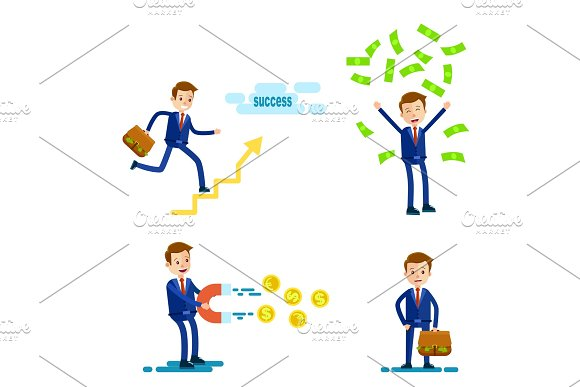Successful Businessman Character Illustration Set