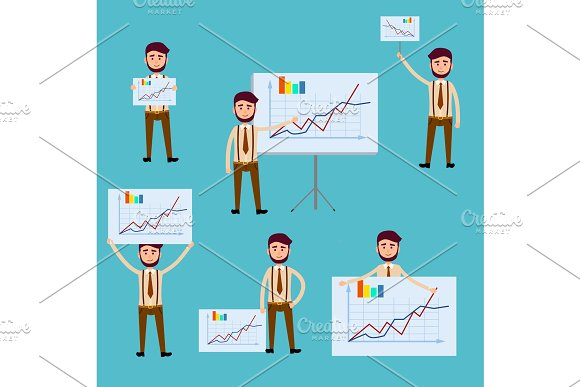Business Concept with Men Holding Diagram Posters