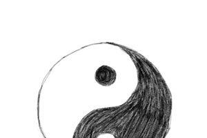 Illustration of hand drawn Yin Yang
