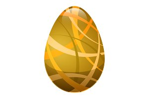 Easter Egg with Ornamental Lines in Golden Colors