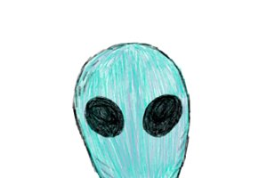 Illustration of hand drawn alien