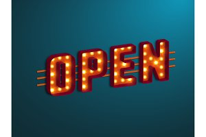 3d retro open sign.