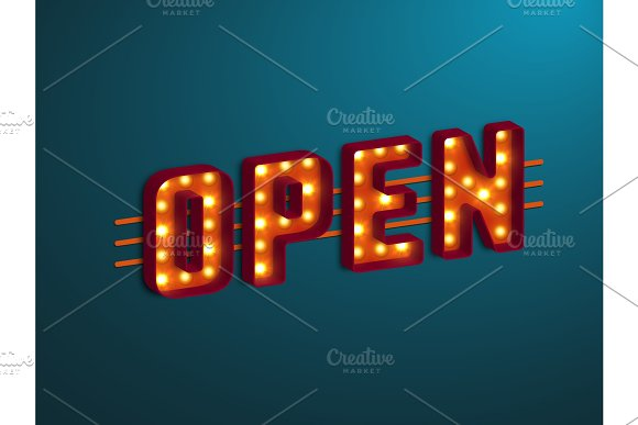 3D Retro Open Sign