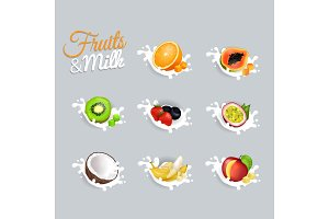 Fruits and Milk Vector Illustrations Set